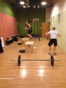 Box Jumps and burpees at CrossFit Recursive.