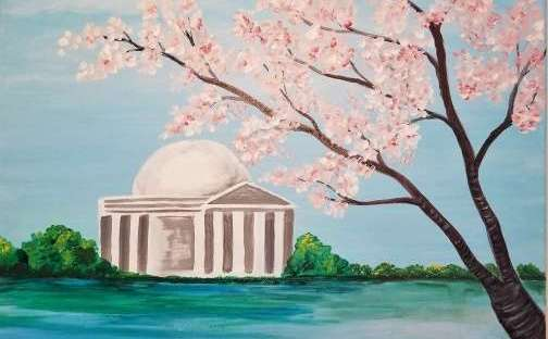 Lincolm Memorial, cherry blossoms,