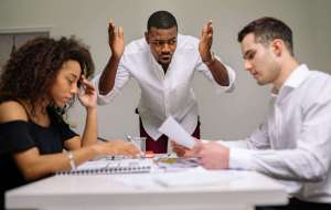 a man angry in a workplace Emotional , incontrollable outbursts