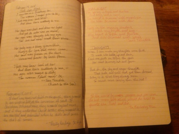 My moleskine. I'm thanking Heather at Bent Leather for my newly found Sara Teasdale love.