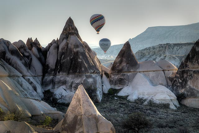 Two Balloons and Rock Peaks
