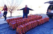 Loading gift bags in Cornville: Deborah Williams and Terrilyn Green