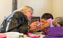 Sharing flashcards with Hopi school girl photo by Jackie Klieger