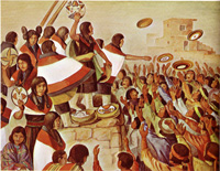 October Women's Basket Dance celebrating harvest and fertility 1940 painting by Hopi artist Fred Kabotie