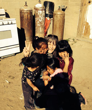 Heather Lapp enjoying the kids--photo by Ron Lapp.