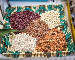 Hopi heirloom seeds in a woven basket by Natwanti Coalition
