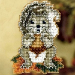 Squirrel Beaded Cross Stitch Kit
