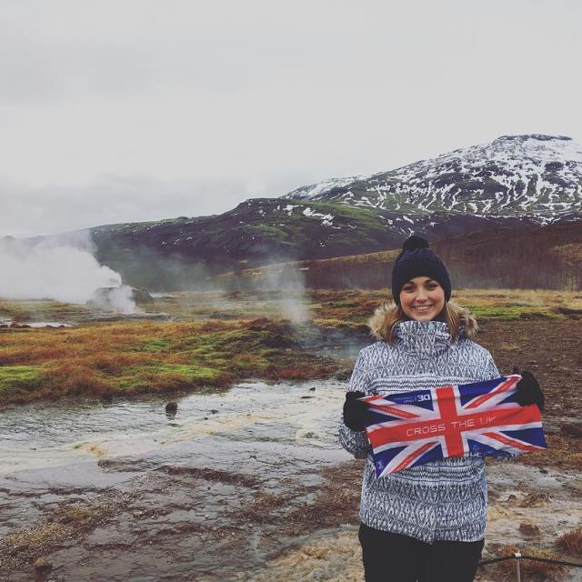Nina waving the Cross the UK flag on Icelandic hothellip