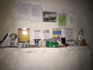 Information and basic supplies left at Dubs Hut