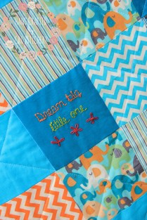 Baby Boy Square Quilt - Hand Embroidered Square
