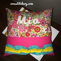Cushion Back - Double Ruffle & Applique