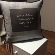 Cushion back with message