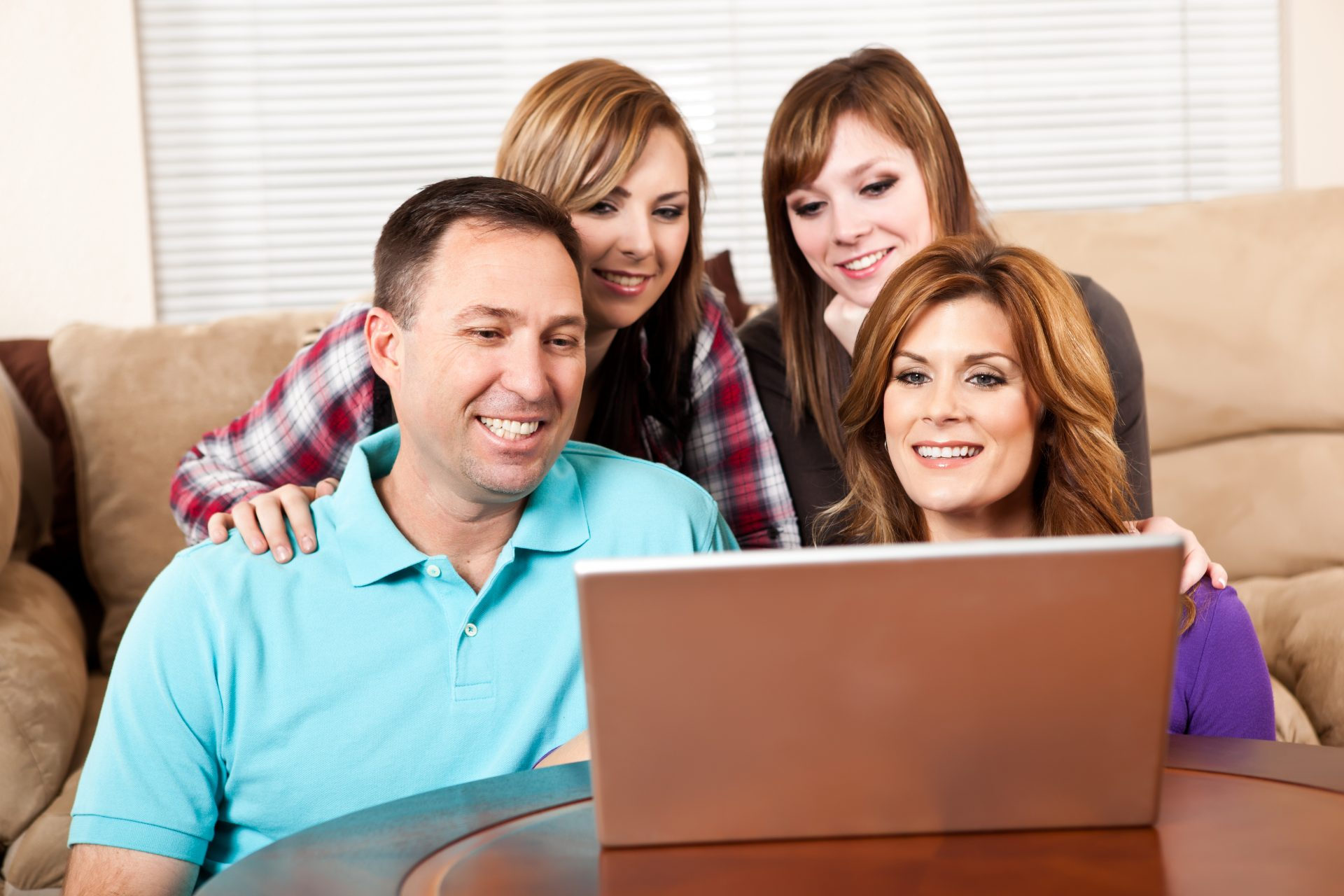 family attending online counseling
