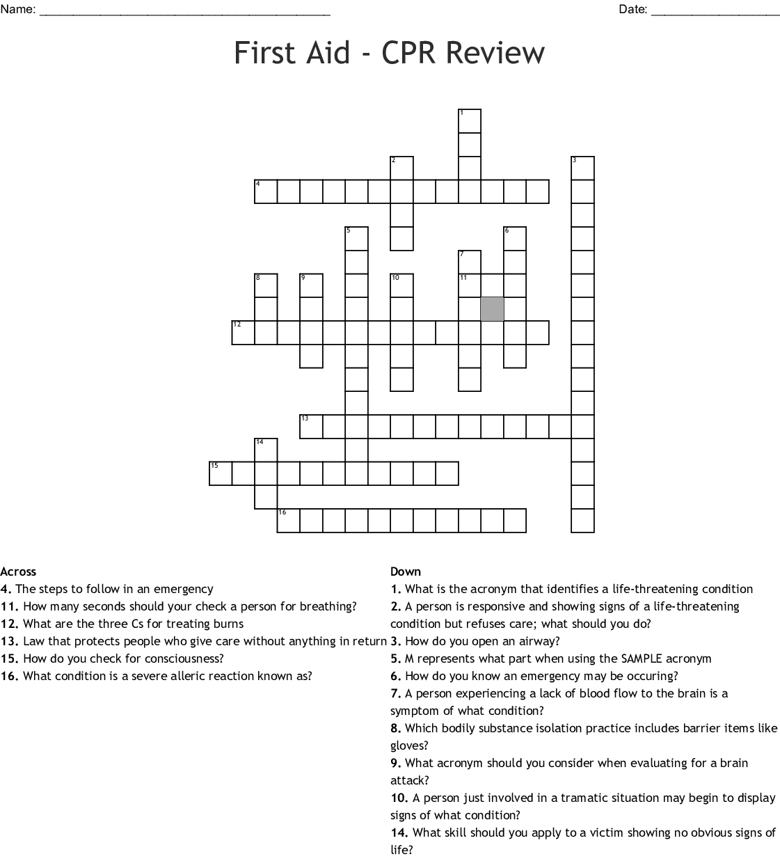 First Aid Word Search Puzzle