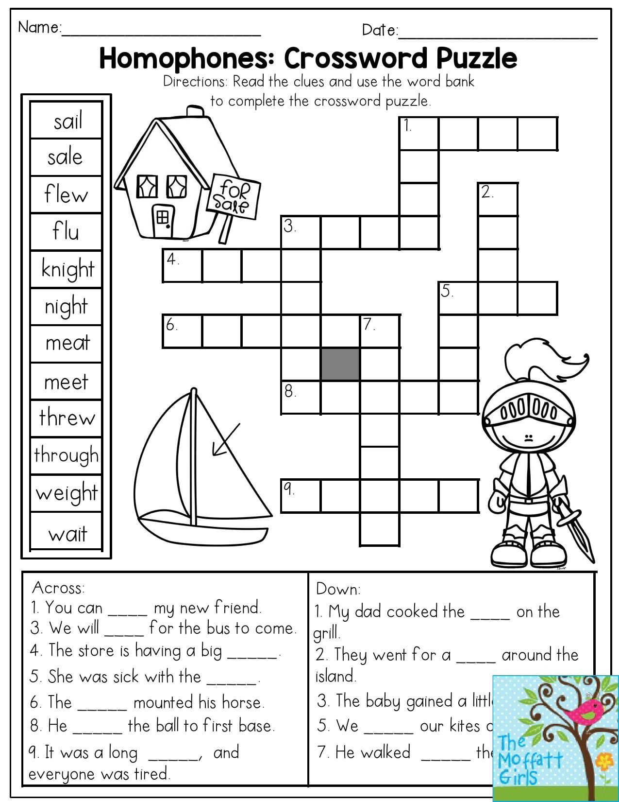 Homophones Worksheet Easy