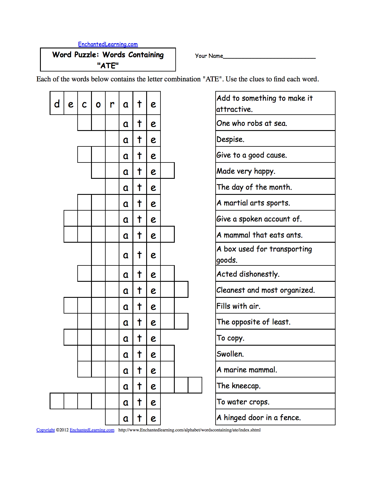 Printable Criss Cross Puzzle For Adults