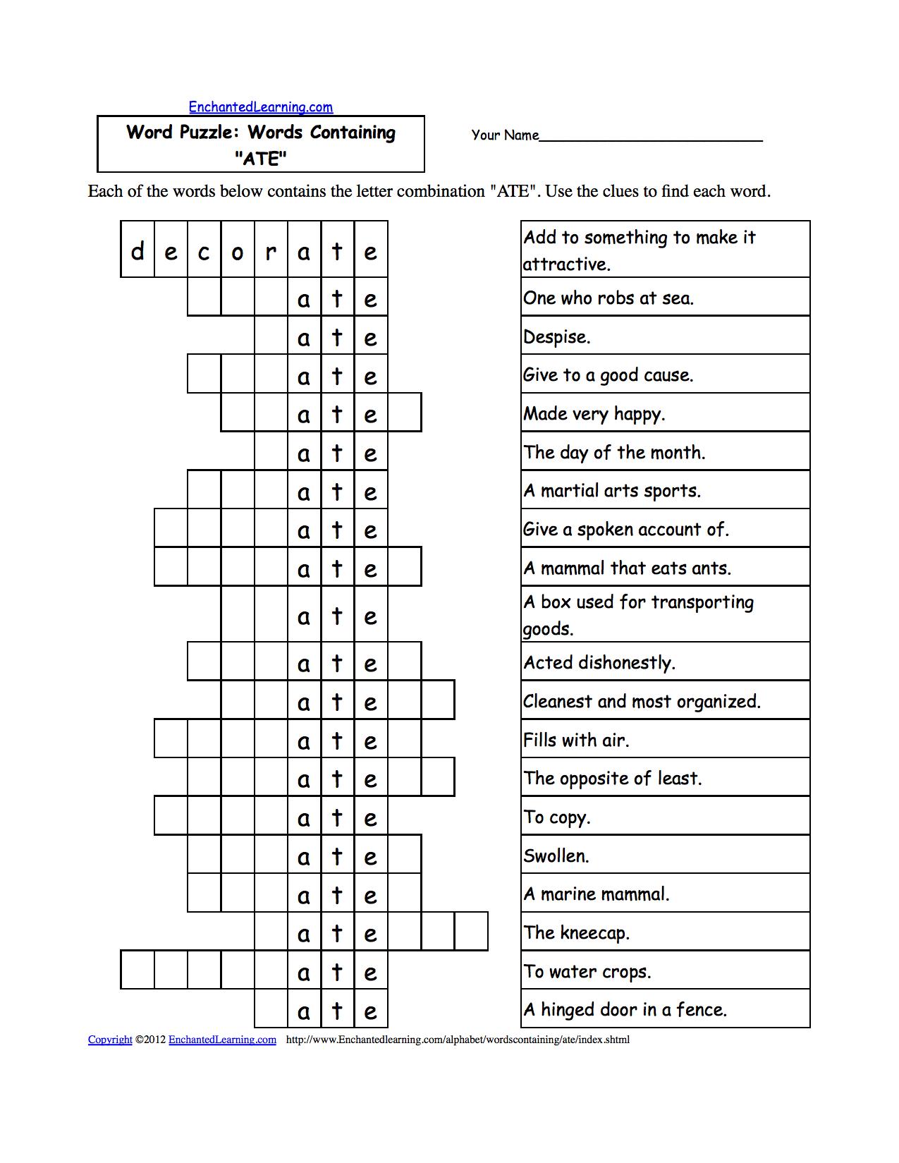 Criss Cross Worksheet