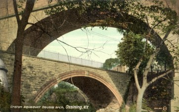 During the heyday of postcards in the early 20th century the Double Arch was an often-photographed New York landmark—as this example and the selection that follows attest.