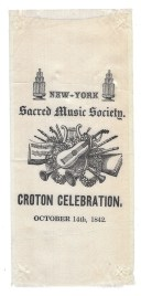 A commemorative ribbon for the New-York Sacred Music Society, the group that sang George Pope Morris' Croton Ode.