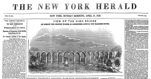 Detail of the front page of The New York Herald, April 17, 1848, the year the bridge was completed.