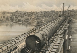 High Bridge During the Construction of the Large Main. D.T. Valentine's Manual, 1862.