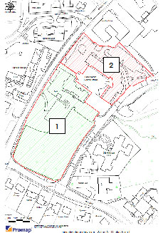 Map showing the two lots for sale at Pine Grove