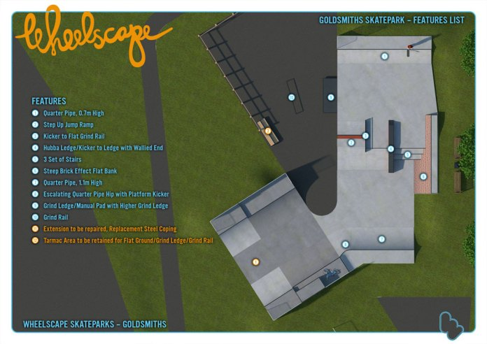 New layout and key to features at the skatepark at Goldsmiths in Crowborough