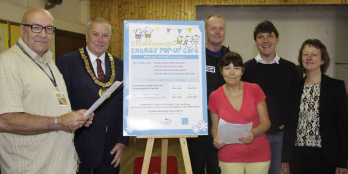Energy Pop-up Cafe officially opened by Mayor Cllr Ron Reed.  Also picture are (from left to right): Fred Best, Ron Reed, Chris Harrison, Carolyn Wicken, Ollie Pendered, Philippa Hewes.