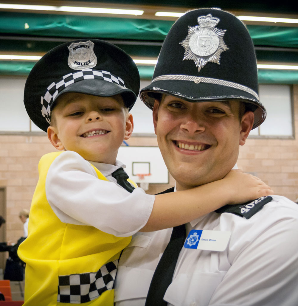Special Constable Jason Dixon with his son, aspiring police cadet, Toby