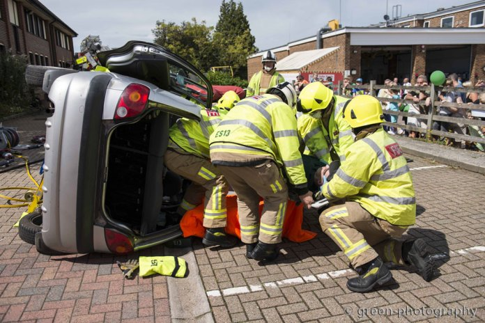 Crowborough firefighters demonstrate an extraction of a driver from a road traffic accident