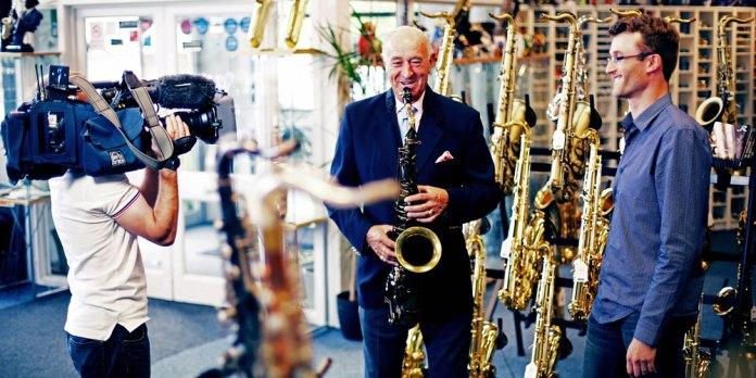 Strictly Come Dancing judge Len Goodman interviewing sax.co.uk Director Jim Cheek