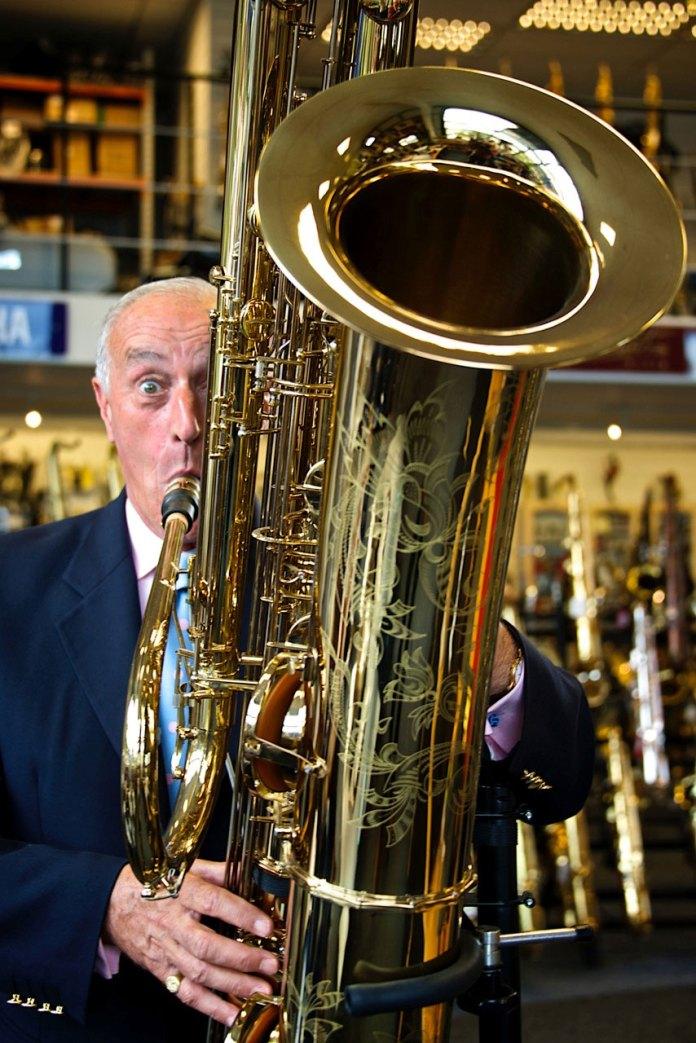 Len Goodman playing an Epplesheim Contrabass sax