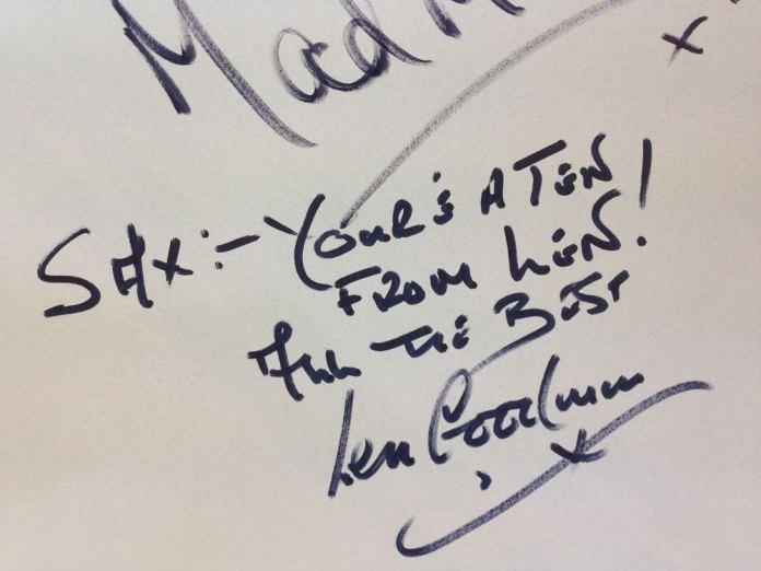 """Len Goodman's signature - """"Sax:– you're a Ten from Len!"""""""