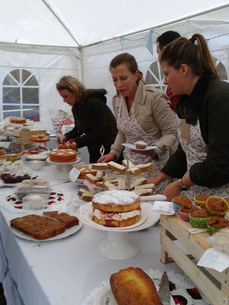 Delicious cakes and preserves on the cake stand