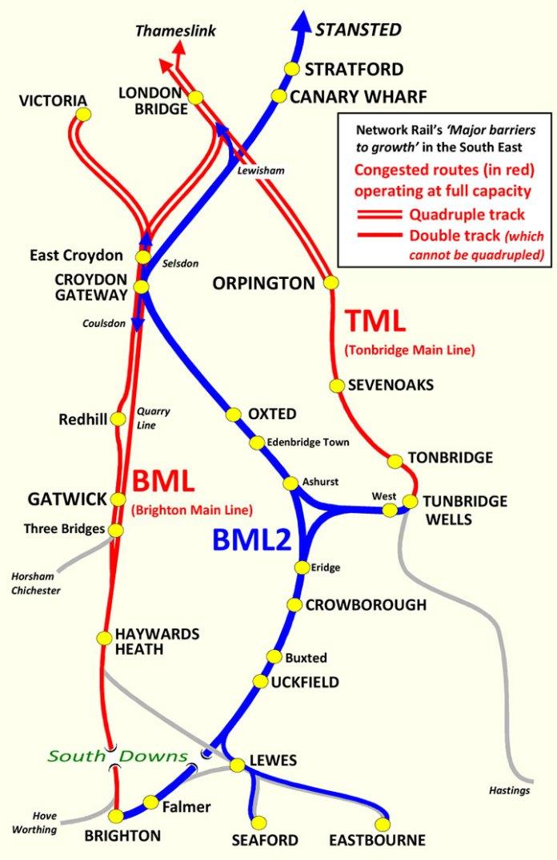 Brighton Main Line 2 proposed route via Crowborough