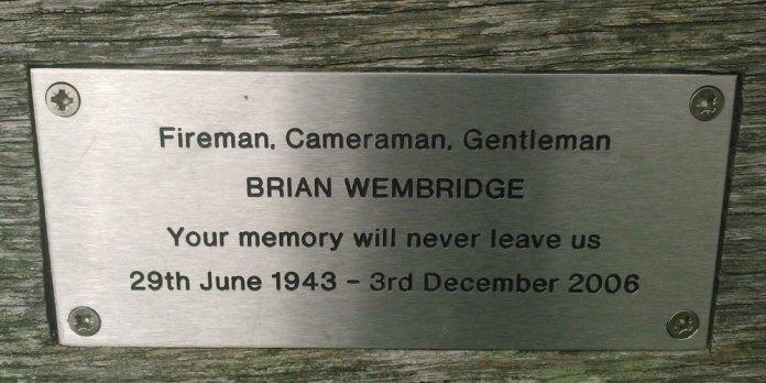 Plague marking the death of Crowborough fireman Brian Wembridge on Bench Ashdown Forest