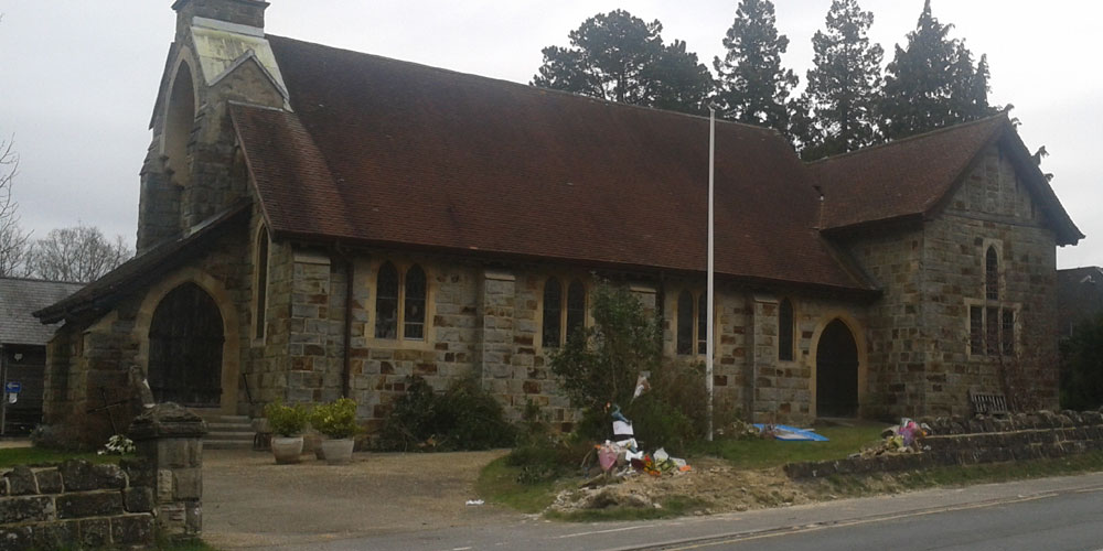 Scene of fatal collision outside St Michael & All Angels Church in Jarvis Brook