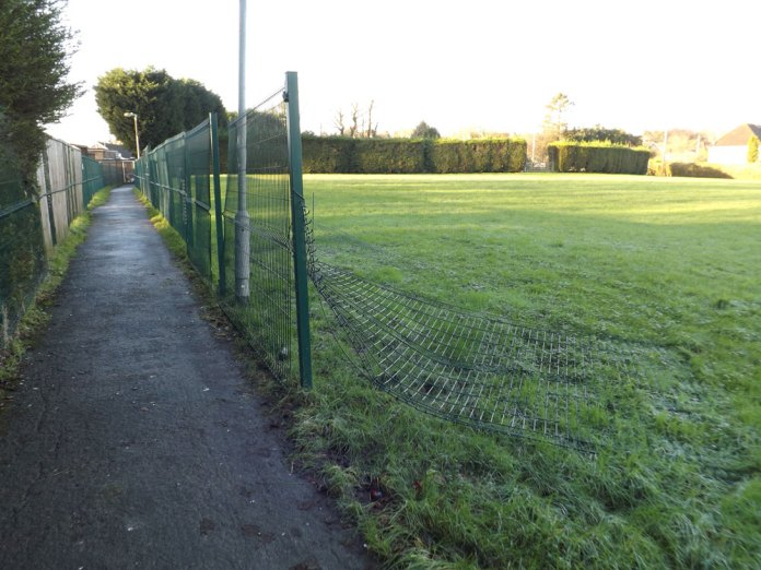 Fence ripped down by vandals Fermor School Crowborough adjacent to Poundgate Path