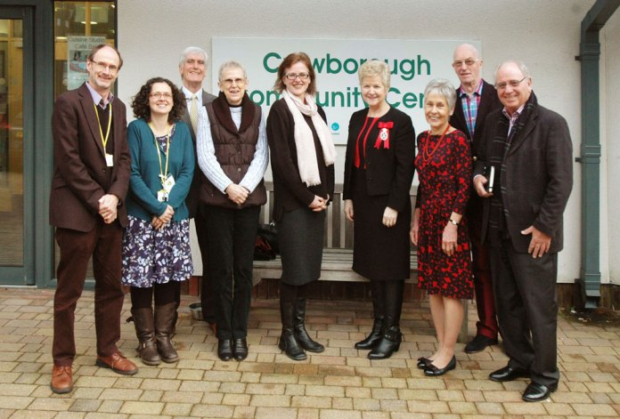 High Sheriff East Sussex photographed outsidethe Community Centre with staff and Board Members during her visit to Crowborough