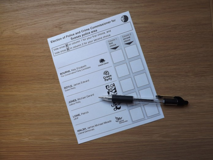 Sussex Police and Crime Commissioner Ballot Paper Thursday 5th May 2016
