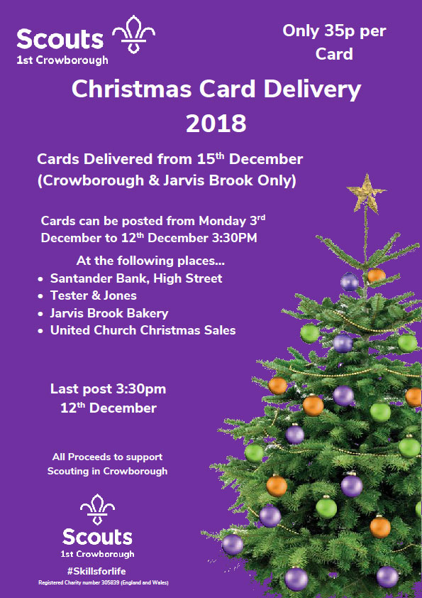 Scouts Christmas Card Delivery Service in Crowborough and Jarvis Brook 2018