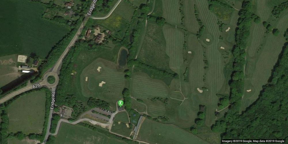 Satellite map boars head golf course near Crowborough
