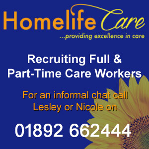 Homelife Care are recruiting full & part-time care workers. For an informal chat call Lesley or Nicole on 01892 662444