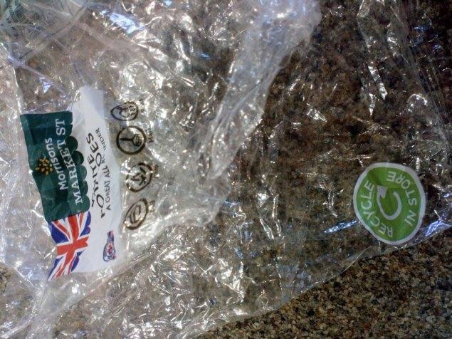 "Morrison plastic potato bag ""Recycle in Store"" logo"