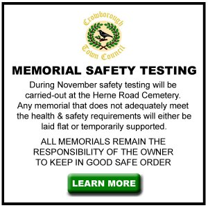 Memorial Safety Testing at Herne Road Cemetery in Crowborough.
