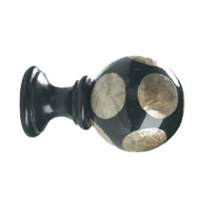 Crowder Design Natural Elements Finial Collection | Smoked Capiz Circles on Black Ball