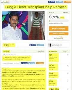 Sateesh Reddy Lung & Heart Transplant,help Ramesh