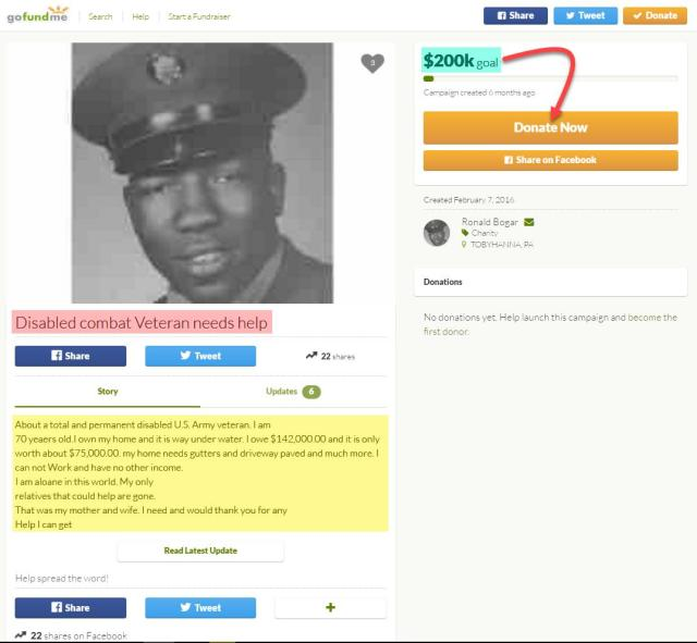 Disabled combat Veteran needs help Ronald