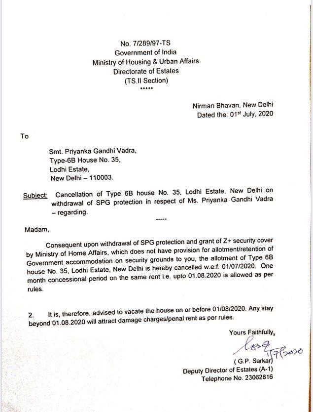 Priyanka Gandhi Evicted from Her Bungalow