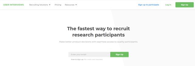user interviews sign up